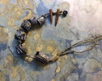 Bark Tube Bead Set.  Artisan Handmade Ceramic Rustic Pendant.