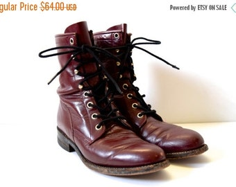JANUARY SALE / 20% off Vintage 80s Eggplant Leather Lace Up Justin Boots (size 5.5)