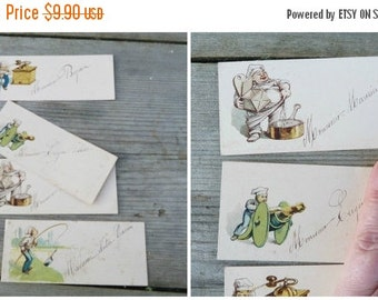 ON SALE 20% Vintage Antique  1919 French set of 4 cards to place guests for a dejeuner