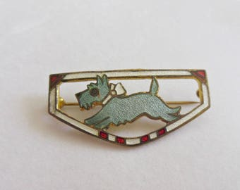 Vintage Scottie Dog Enamel Pin Guilloche Scotty Dog Brooch Scottish Terrier