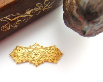 CLOSEOUT * Brass (2 Pieces) Ornate Bar Plate Embossed Stamping ~ Jewelry Ornament Findings ~ Brass Stamping (CB-3023)