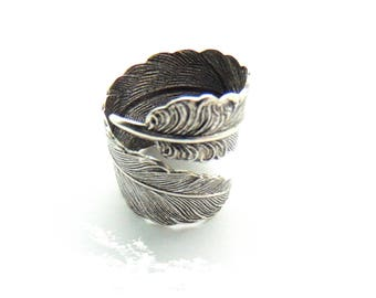 SILVER RING - Silver Open Feather Ring - Antique Silver Wrap Ring Boho Gypsy Adjustable Statement Ring (RE-1)