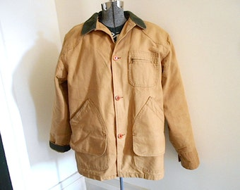SALE LL Bean barn coat lined, canvas w/ wool liner removable - Made in USA Freeport Maine