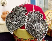 Heart of Viana earrings Portuguese silver tone filigree-Get home page Coupon