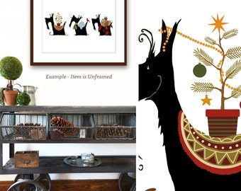 Three Scotties Scottish Terrier dog christmas winter holiday season festive UNFRAMED art print by stephen fowler
