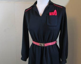 Snappy 70s Black dress Knit shirtdress vintage 70s pull on black knit dress trimmed in red Mini dress  M