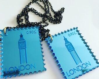 London UK Postcrossing, stamp, laser cut necklace