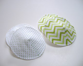 Waterproof Nursing Pads, Contoured, PUL Washable Reusable Cloth Breast Pads Green Chevron and Dots