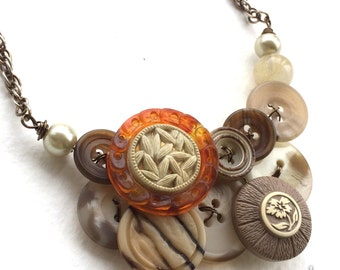 Woodland Necklace with Brown, Tan, Off-White Vintage Buttons