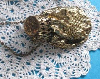 Gold Mesh Gate Top Bag, Vintage Mesh Purse