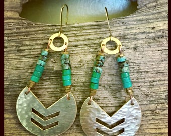 Turquoise chevron earrings