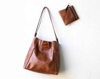 Little KIRIGAMI SET soft leather shoulder bag - slouchy leather bag