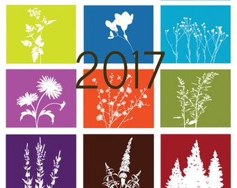 2017 Recycled Paper Floral Silhouette Calendars - REFILLS