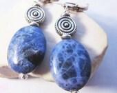 Sodalite earrings - artisan designed  - denim blue earrings - sterling silver earrings - boho style