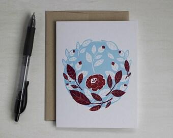 Letterpress Blank Card, Mother's Day Card, Camellia, Garden Art, Anniversary Card, Engagement Card, Wedding Card, Valentine, Pink Flower