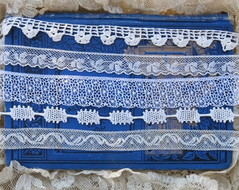 Vintage Lace Remnant Collection, 2+ Yards, Antique Cotton Lace Trim Lot, Yardage Snippets…crazy quilting, fabric collage, dolls  - LR1701