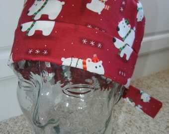 Tie Back Surgical Scrub Hat with Polar Bears on Red
