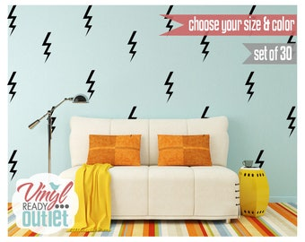 Lightning Bolts Vinyl Wall Decals - Set of 30 - Pick your Size & Color!