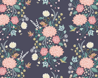 Navy Peach Coral & Teal Wildflower Floral Baby Nursery Crib Bedding Set CHOOSE and CUSTOMIZE