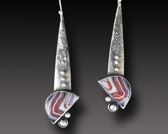 Agate Earrings LONG Sterling Silver Earrings LAGUNA  Agate Dangle earrings