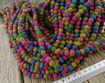 6mm Lava Rock Beads, Mixed Color Lava Rock, Blue Lava rock, diffuser Beads, 6 mm Lava Stone Beads, Lava Bead 6-7mm, Restocked