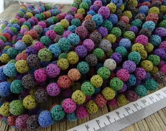 8mm Lava Rock Beads, Mixed Color Lava Rock, Blue Lava rock, Round Nugget Beads, 8 mm Lava Stone Beads, Lava Bead, Diffuser Beads, Restocked