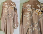 Vintage 1940's Japanese Silk Haori Kimono with Cherry Blossoms