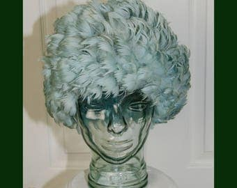 Vintage 1960's Baby Blue Feather Wig Stretch Hat