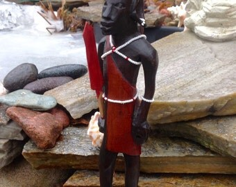 SALE-FREE SHIPPING-Vintage African Handcarved Ebony Tribal Man w/Beading Figurine/Statue-Unique Art Man Figure-Ethnic Decor-Mantle Decor