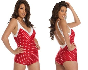 Iris Onepiece Polka-Dotted Swimsuit in Red/White