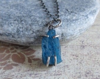 Neon Blue Apatite Necklace, Raw Apatite Pendant, Oxidized Sterling Silver Chain, Rough Gemstone Forged Jewelry
