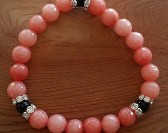Natural Faceted Peach Malay Jade Black Agate Bracelet handmade (HGB10831)- Wrist size up to 7 1/4 inches- Ship from Canada