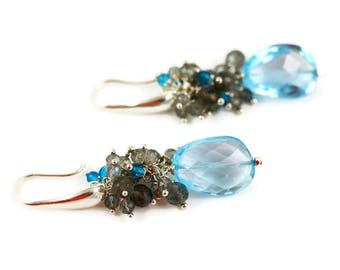 Swiss Blue Topaz Earrings - Labradorite - Blue Topaz Earrings - Clearing Skies