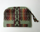 RESERVED for Vic Wool Zippered Pouch Coin Purse Change Purse Accessory Organizer Southwest