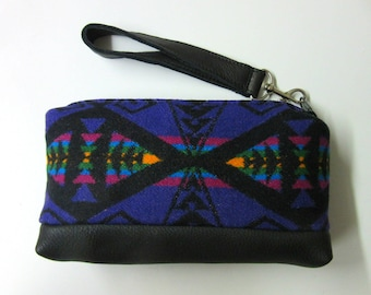 Wool Wristlet Small Wrist Bag Clutch Bag Purse Cosmetic Bag Make Up Pouch Removable Black Leather Strap Unlined