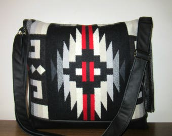 Large Messenger Bag Wool Shoulder Bag Purse Cross Body Bag Soft Black Leather Adjustable Strap Blanket Wool from Pendleton Oregon
