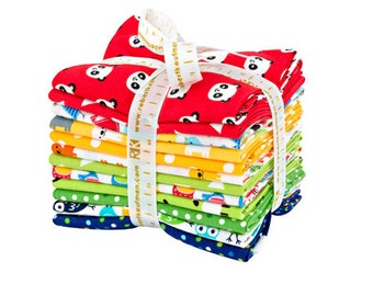 SALE 20% Off Robert Kaufman Urban Zoologie Minis Primary Fat Quarter Bundle 12 Precut Cotton Fabric Quilting Ann Kelle FQ-1166-12