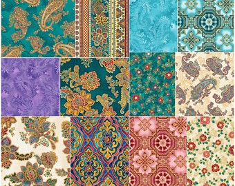 "SQ63 Robert Kaufman La Scala Jewel Precut 5"" Charm Pack Fabric Quilting Cotton Squares Metallic CHS-548-42"