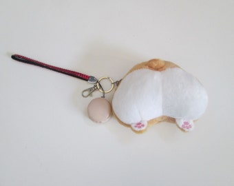 Plush Corgi Fluffy Butt Wristlet Keychain & Purse Clip with French Macaron and Paw Print Charm