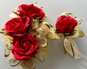 Red Gold Corsage Set (artificial flowers)