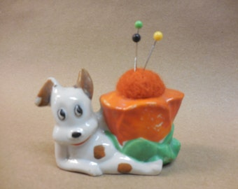 Vintage Sweet little Floppy eared Puppy sitting next to Orange Flower Planter remade into Pin Cushion, Made in Japan