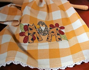 Mom Kitchen Towel | Appliqued Mom Tea Towel | Vintage Button | Gold White Check Towel | Kitchen Decor | Gifts for Moms  | Farm Style Towel
