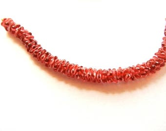 50 Glass flowers beads, Czech, translucent red with white 7mm, new beads