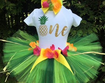 First Birthday Outfit Pineapple, Luau First Birthday Outfit, Pineapple 1st Birthday Outfit for Baby Girls, Baby Luau Outfit, Fruit Birthday