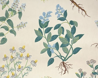 1950's Vintage Wallpaper - Blue and Yellow Botanical Wildflowers