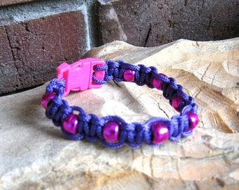 ON SALE Knotted Purple Cord Bracelet with Magenta Beads