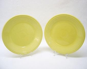 "FIESTAWARE - 10 1/2"" Dinner Plate Lot of 2-Pale Yellow -Homer Laughlin China Co. Genuine Fiesta U.S.A. Lead Free- 1994 FIESTA WARE Perfect"
