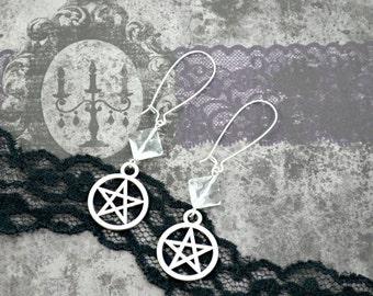 Pentagram - Star in a Circle charm- Silver Charm Crystal Earrings