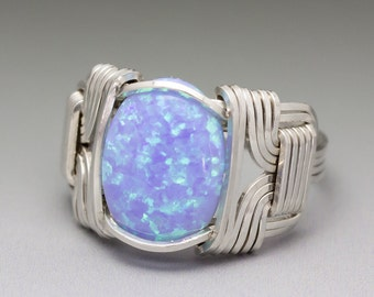 Lavender Purple Man-Made Fire Opal Sterling Silver Wire Wrap Cabochon Ring - Made to  Order and Ships Fast!