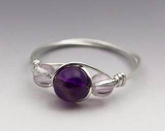 Dark & Pink Amethyst Sterling Silver Wire Wrapped Bead Ring - Made to Order, Ships Fast!